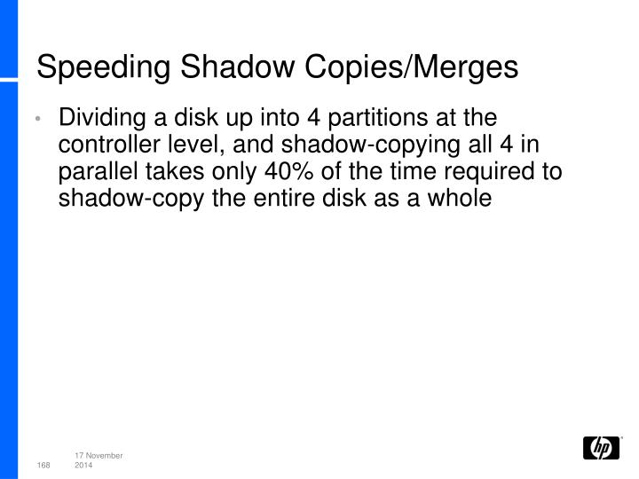 Speeding Shadow Copies/Merges