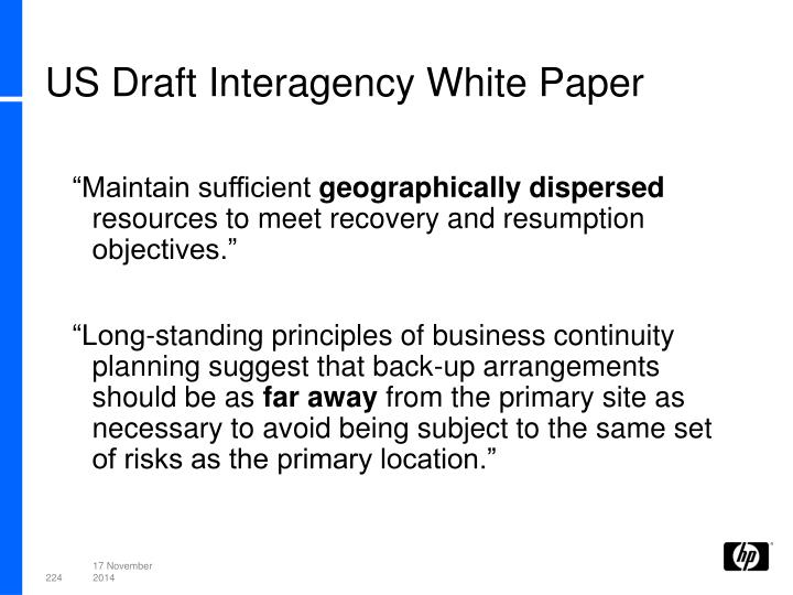 US Draft Interagency White Paper
