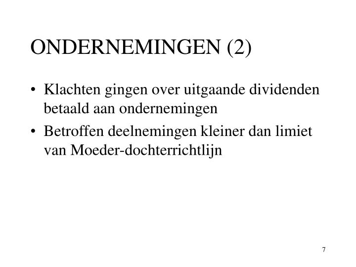 ONDERNEMINGEN (2)