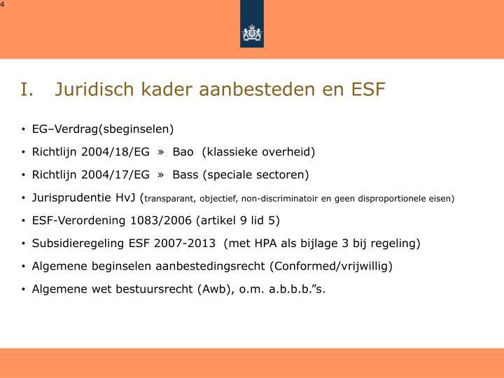 Juridisch kader aanbesteden en ESF