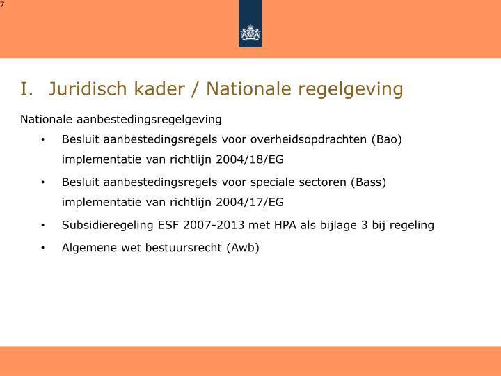 Juridisch kader / Nationale regelgeving