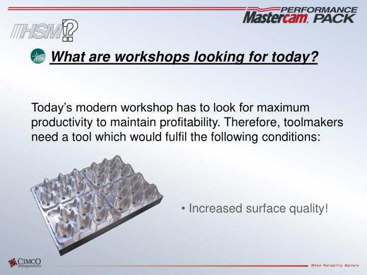 What are workshops looking for today?
