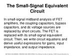 the small signal equivalent circuit