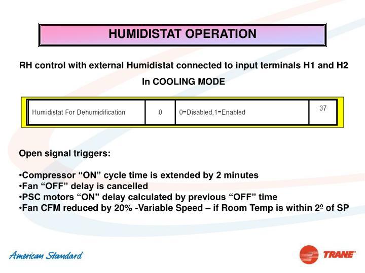 HUMIDISTAT OPERATION