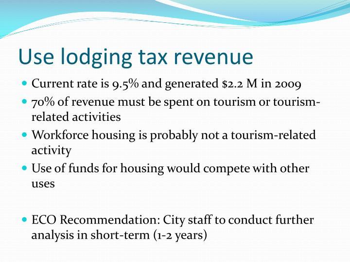 Use lodging tax revenue