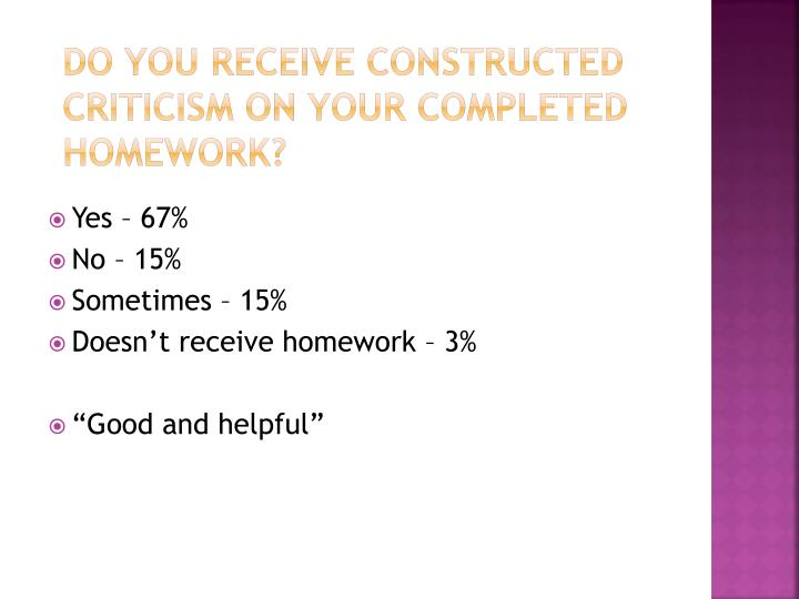 Do you receive constructed criticism on your completed homework?