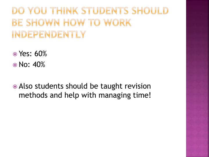 Do you think students should be shown how to work independently