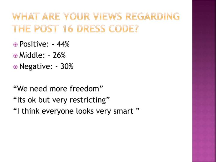 What are your views regarding the Post 16 dress code?
