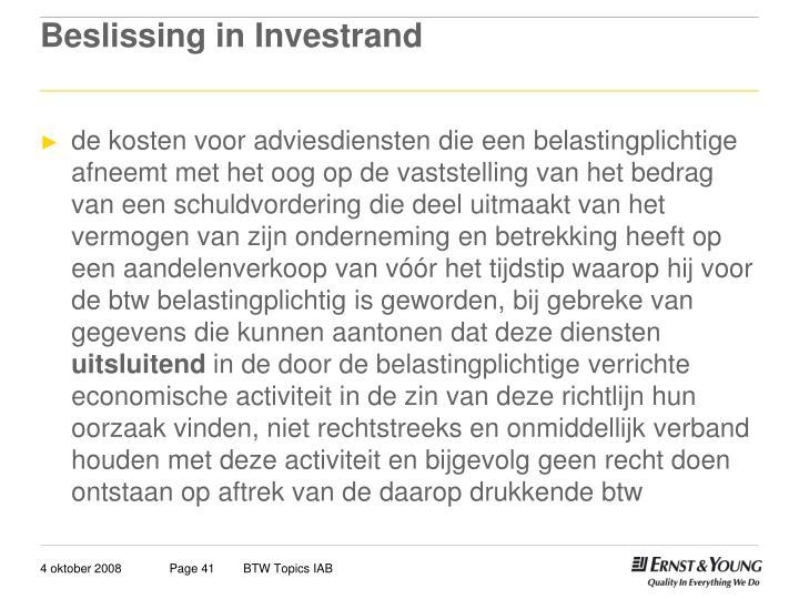 Beslissing in Investrand