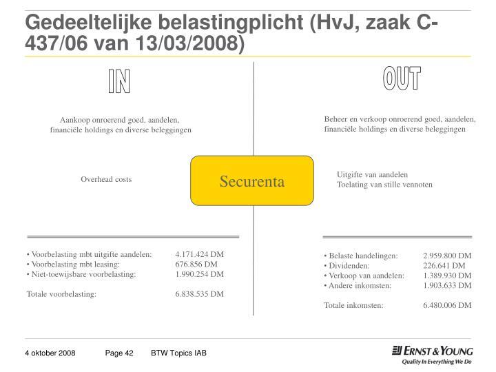 Gedeeltelijke belastingplicht (HvJ, zaak C-437/06 van 13/03/2008)