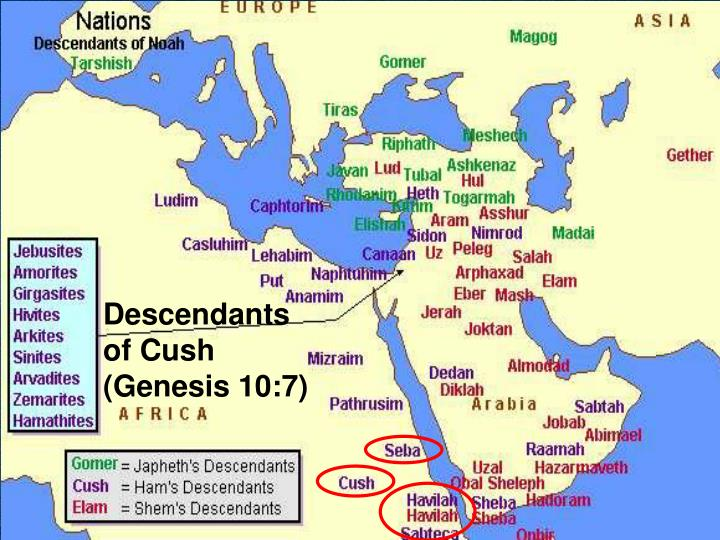 Descendants of Cush (Genesis 10:7)