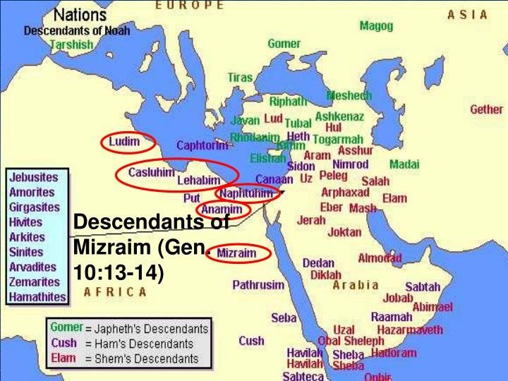Descendants of Mizraim (Gen. 10:13-14)