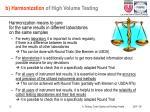 b harmonization of high volume testing