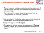 c africa specific objective and project activities