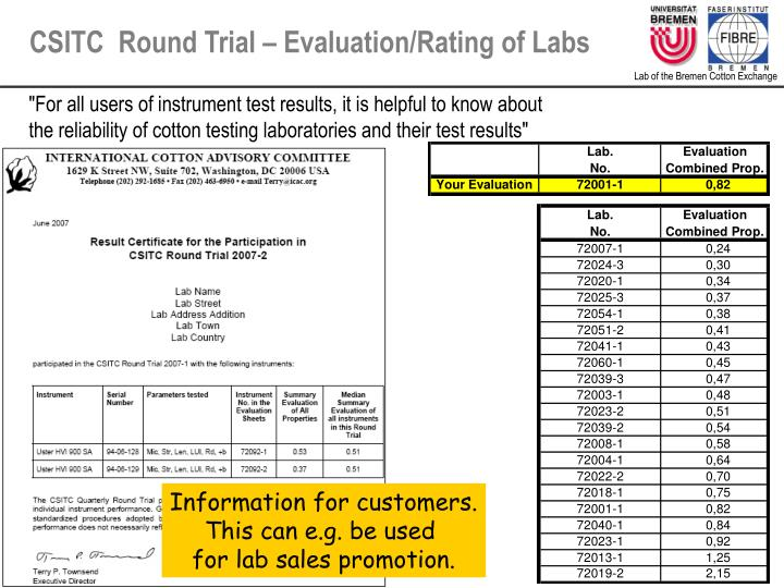 CSITC  Round Trial – Evaluation/Rating of Labs
