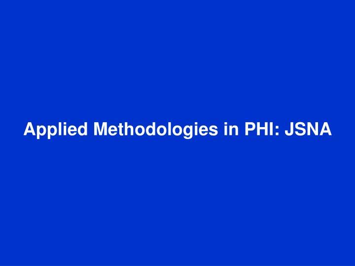 Applied Methodologies in PHI: JSNA
