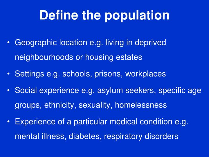 Define the population