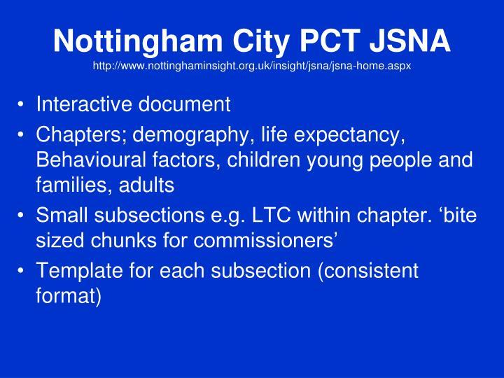 Nottingham City PCT JSNA