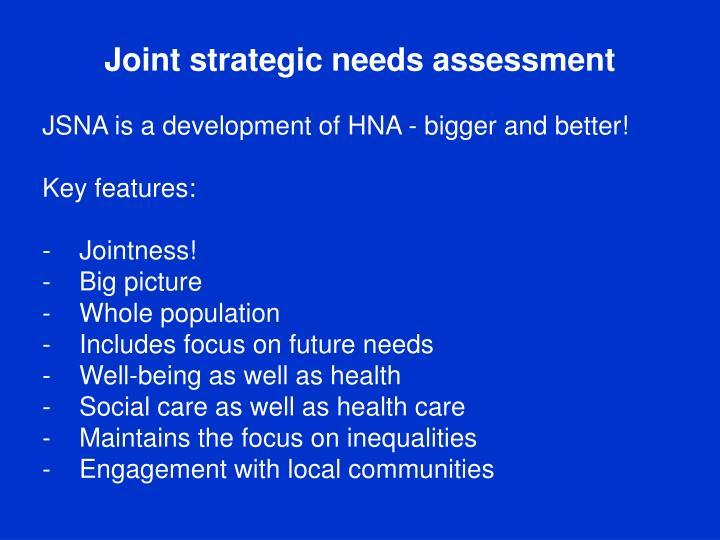 Joint strategic needs assessment
