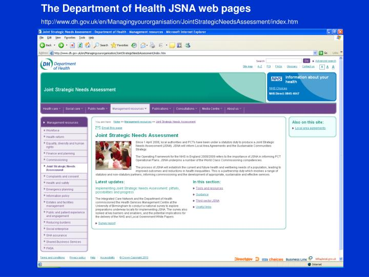 The Department of Health JSNA web pages
