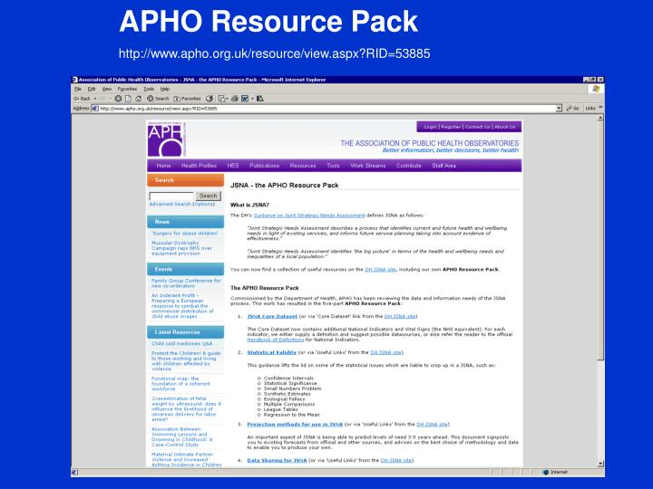 APHO Resource Pack