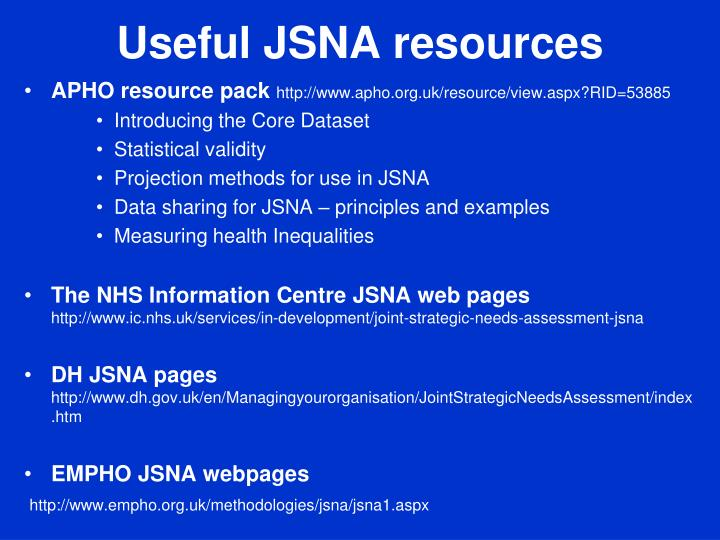 Useful JSNA resources