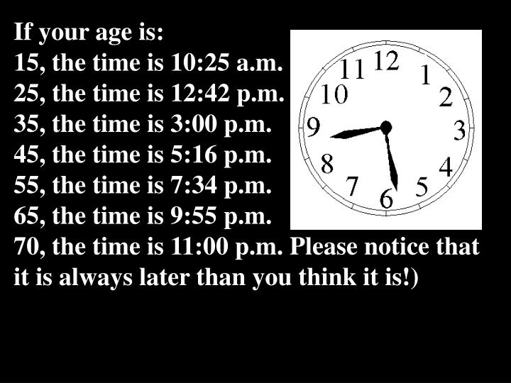 If your age is: