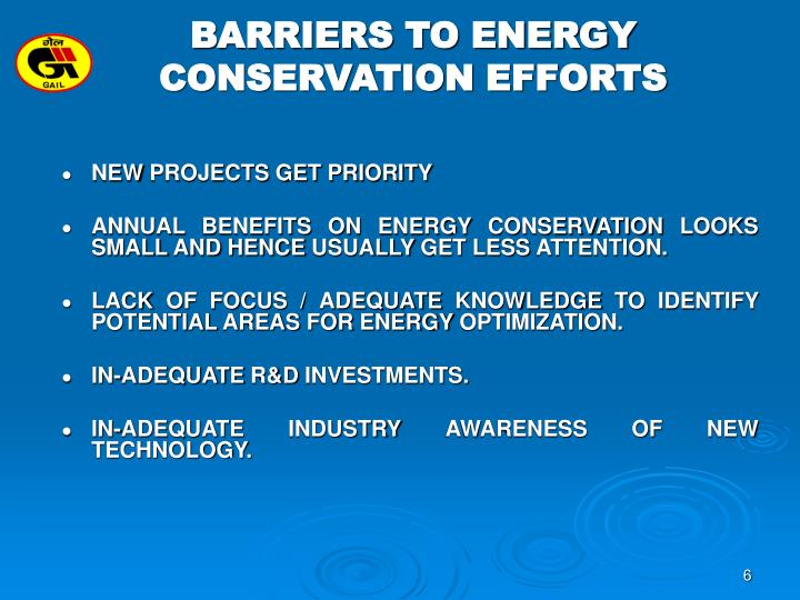 BARRIERS TO ENERGY CONSERVATION EFFORTS