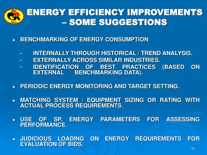 ENERGY EFFICIENCY IMPROVEMENTS – SOME SUGGESTIONS