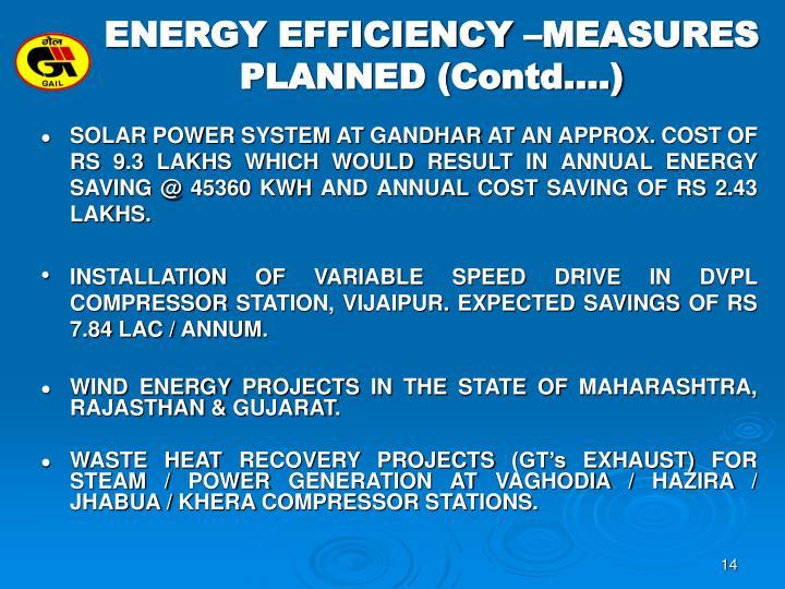 ENERGY EFFICIENCY –MEASURES
