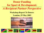 donor funding for sport development a recipient partner perspective