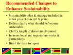 recommended changes to enhance sustainability1