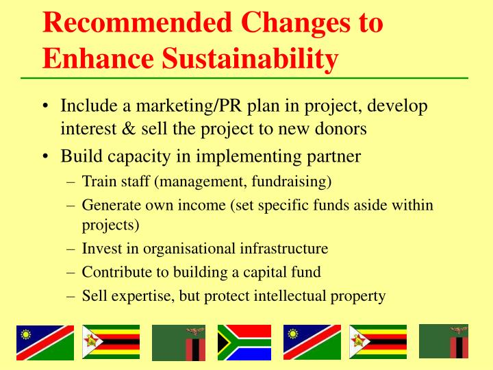 Recommended Changes to Enhance Sustainability