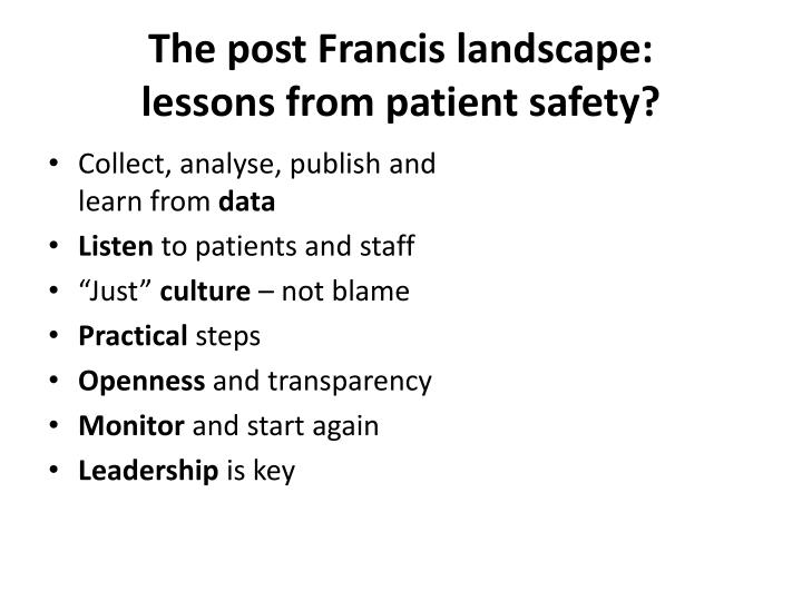 The post Francis landscape: