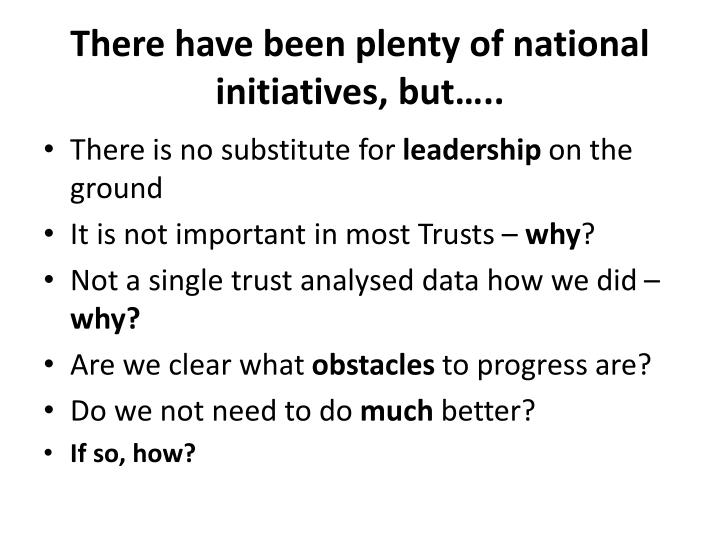 There have been plenty of national initiatives, but…..