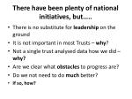 there have been plenty of national initiatives but