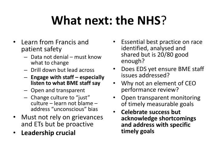 What next: the NHS