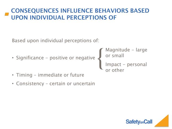 Consequences Influence Behaviors Based Upon Individual Perceptions of