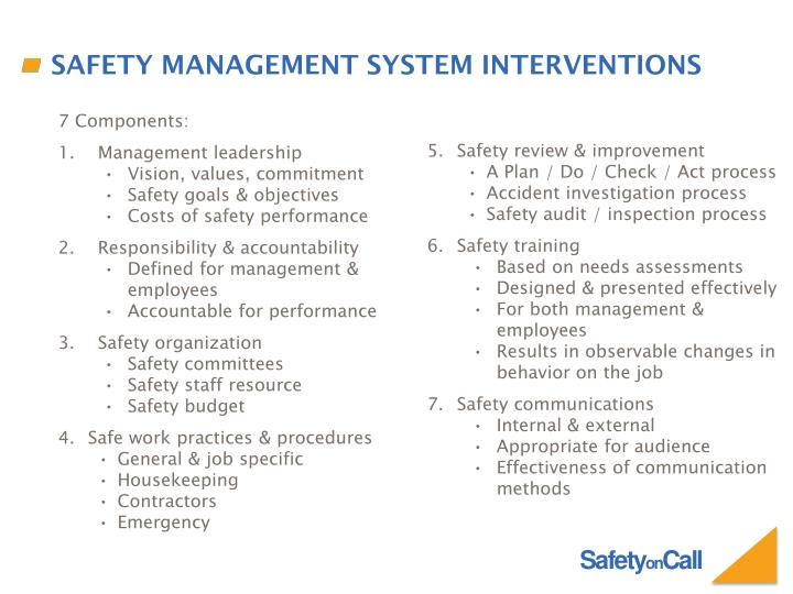 Safety management system interventions