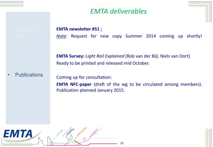 EMTA deliverables
