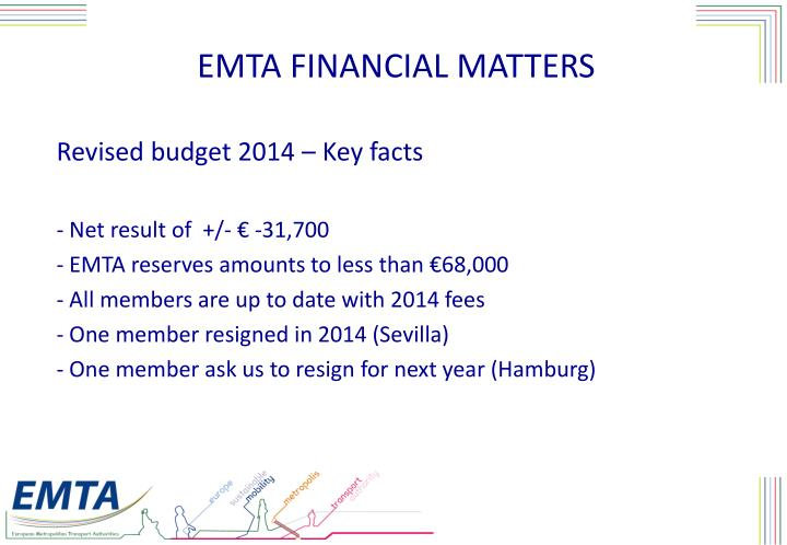 EMTA FINANCIAL MATTERS