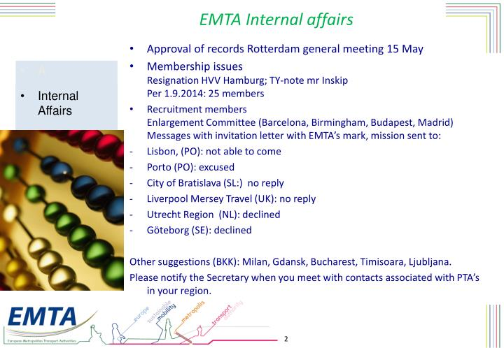 EMTA Internal affairs