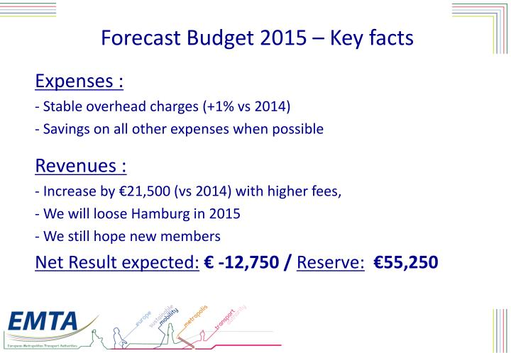 Forecast Budget 2015 – Key facts
