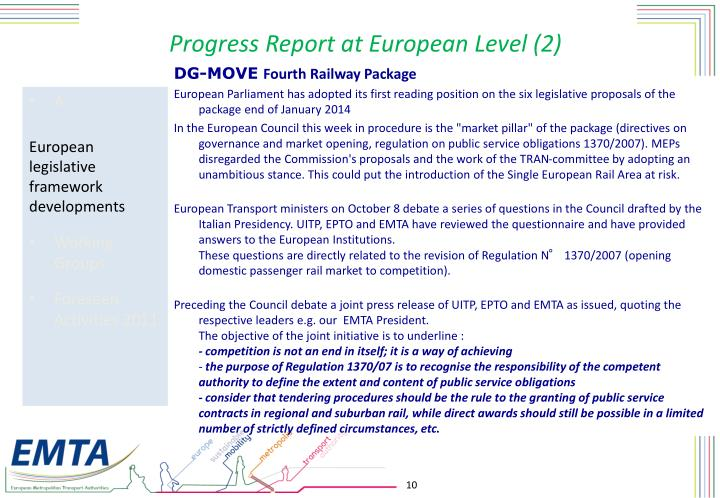 Progress Report at European Level (2)