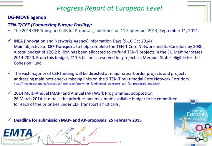 Progress Report at European Level