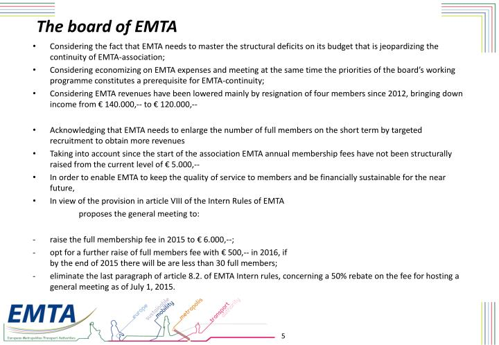 The board of EMTA