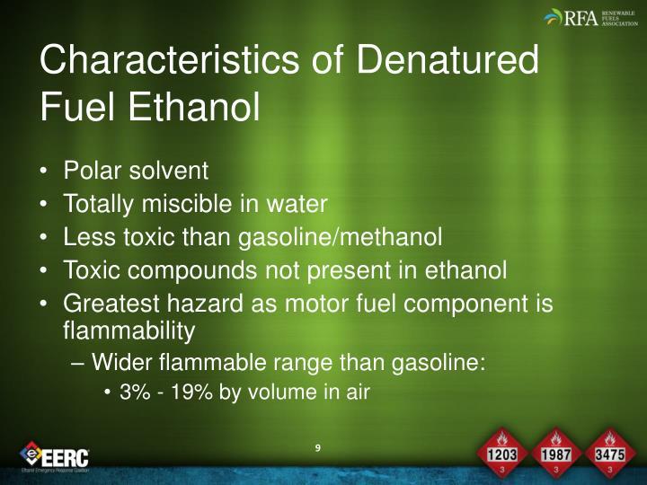 Characteristics of Denatured Fuel Ethanol