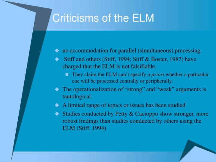 Criticisms of the ELM
