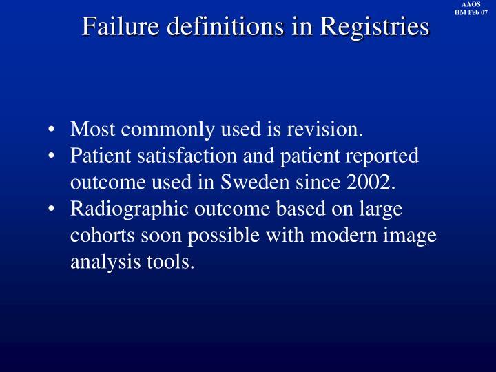 Failure definitions in Registries