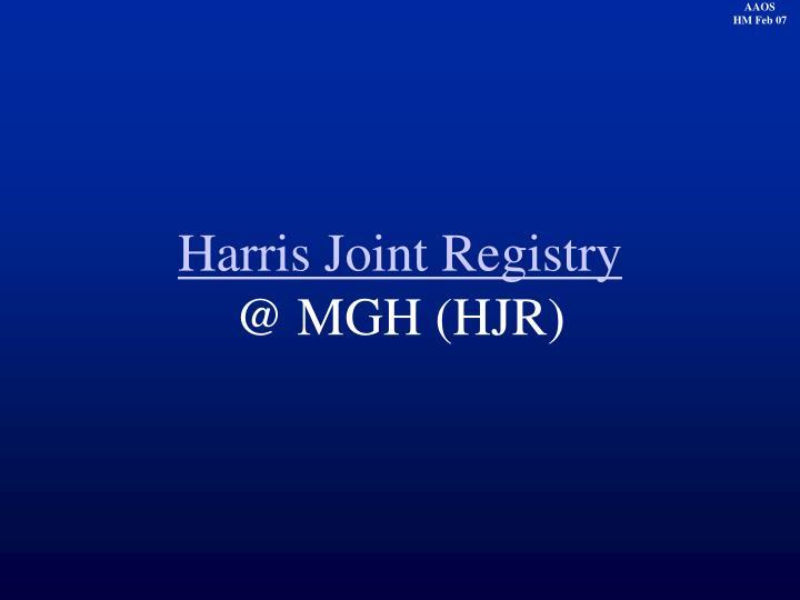 Harris Joint Registry